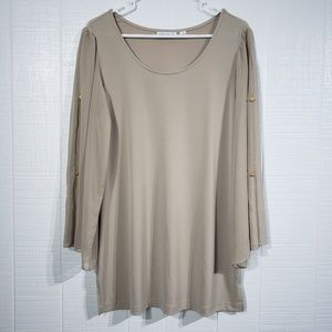 SG Blouse   Faux Button Sleeves F18